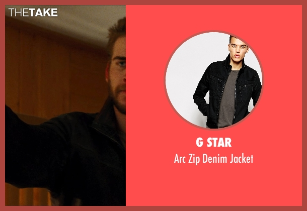 G Star black jacket from Cut Bank seen with Liam Hemsworth (Dwayne McLaren)