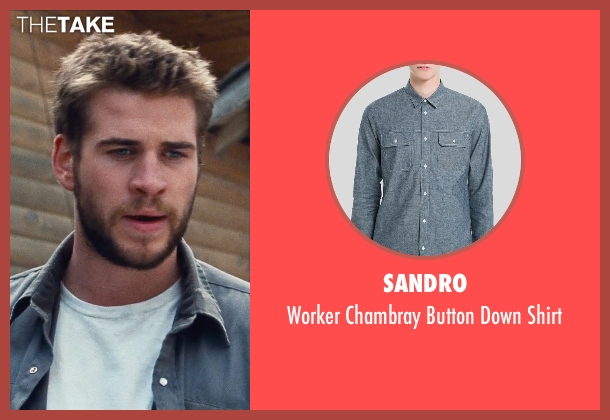 Sandro blue shirt from Cut Bank seen with Liam Hemsworth (Dwayne McLaren)