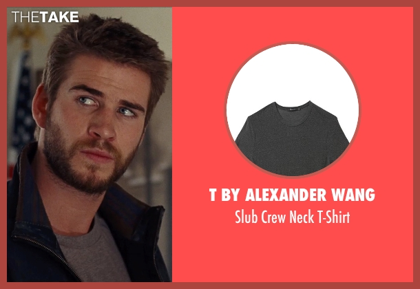 T by Alexander Wang gray t-shirt from Cut Bank seen with Liam Hemsworth (Dwayne McLaren)