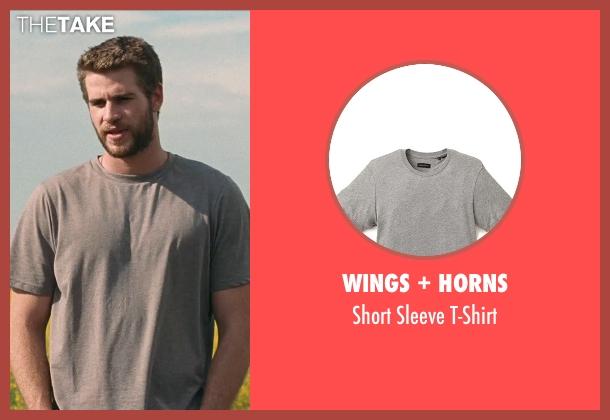 Wings + Horns gray t-shirt from Cut Bank seen with Liam Hemsworth (Dwayne McLaren)