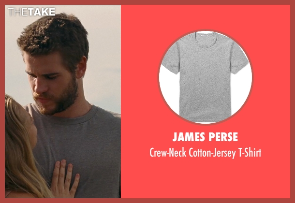 James Perse gray t-shirt from Cut Bank seen with Liam Hemsworth (Dwayne McLaren)