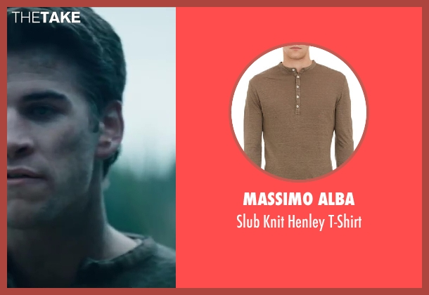 Massimo Alba gray t-shirt from The Hunger Games: Catching Fire seen with Liam Hemsworth (Gale Hawthorne)