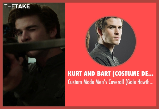 Kurt and Bart (Costume Designer) black coverall from The Hunger Games: Mockingjay Part 1 seen with Liam Hemsworth (Gale Hawthorne)