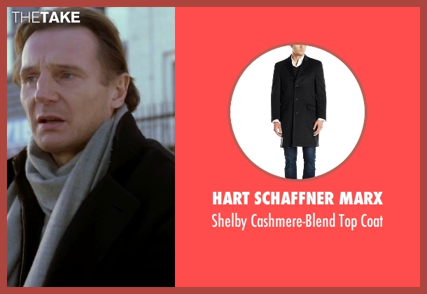 Hart Schaffner Marx black coat from Love Actually seen with Liam Neeson (Daniel)
