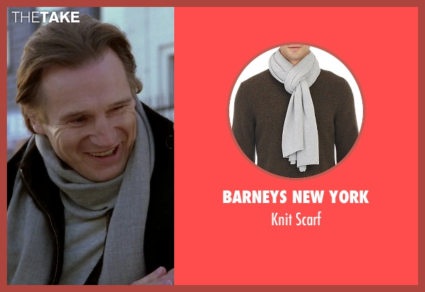 Barneys New York gray scarf from Love Actually seen with Liam Neeson (Daniel)