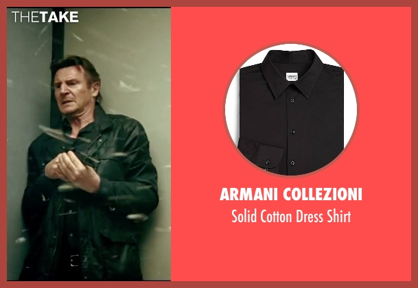 Armani Collezioni black shirt from Taken 3 seen with Liam Neeson (Bryan Mills)
