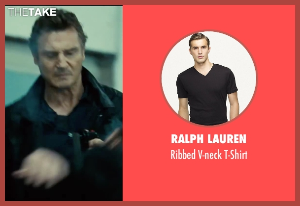 Ralph Lauren black t-shirt from Taken 3 seen with Liam Neeson (Bryan Mills)