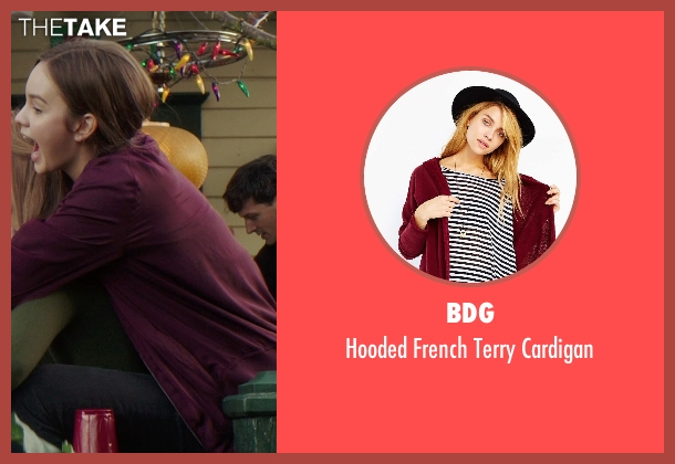 BDG red cardigan from If I Stay seen with Liana Liberato (Kim Schein)