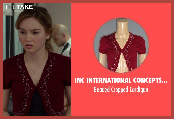 INC International Concepts Clothing red cardigan from The Best of Me seen with Liana Liberato (Young Amanda)