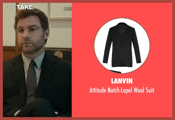 Lanvin black suit from Spotlight seen with Liev Schreiber (Marty Baron)