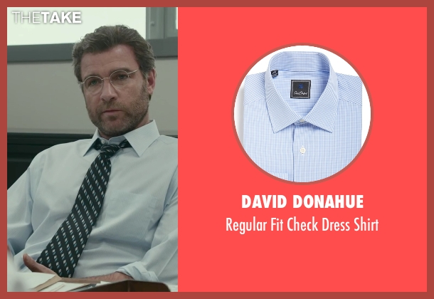 David Donahue blue shirt from Spotlight seen with Liev Schreiber (Marty Baron)