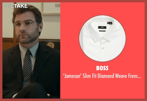 Boss white shirt from Spotlight seen with Liev Schreiber (Marty Baron)