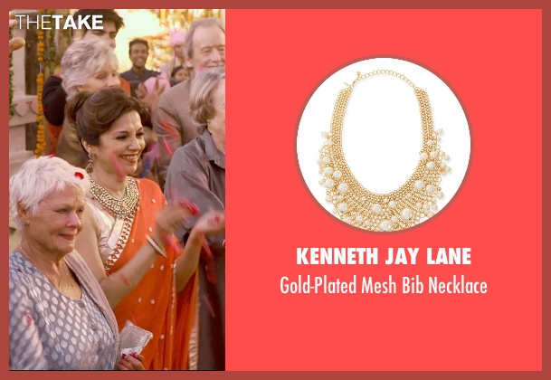 Kenneth Jay Lane gold necklace from The Second Best Exotic Marigold Hotel seen with Lillete Dubey (Mrs. Kapoor)