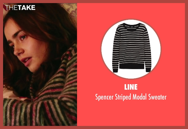 Line black sweater from Love, Rosie seen with Lily Collins (Rosie Dunne)