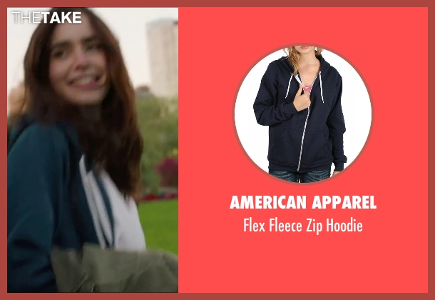 American Apparel blue hoodie from Love, Rosie seen with Lily Collins (Rosie Dunne)