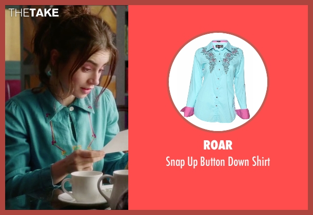 Roar blue shirt from Love, Rosie seen with Lily Collins (Rosie Dunne)