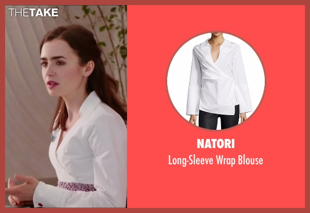 Natori white blouse from Love, Rosie seen with Lily Collins (Rosie Dunne)