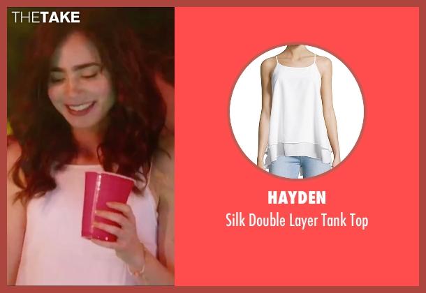 Hayden white top from Love, Rosie seen with Lily Collins (Rosie Dunne)