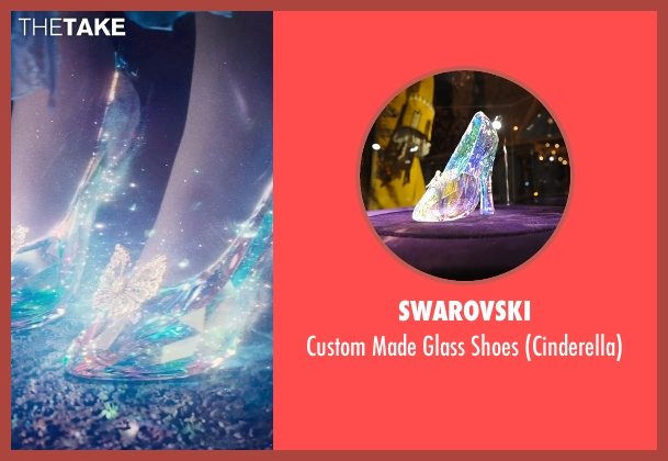 Swarovski white shoes from Cinderella seen with Lily James (Cinderella)