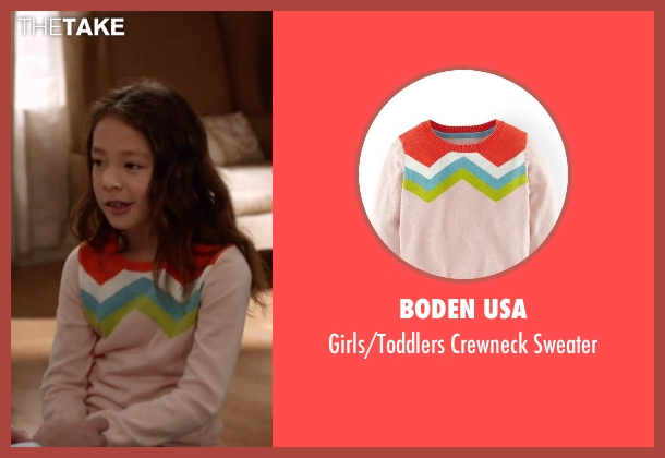 Boden USA pink sweater from Modern Family seen with Lily Tucker-Pritchett (Aubrey Anderson-Emmons)