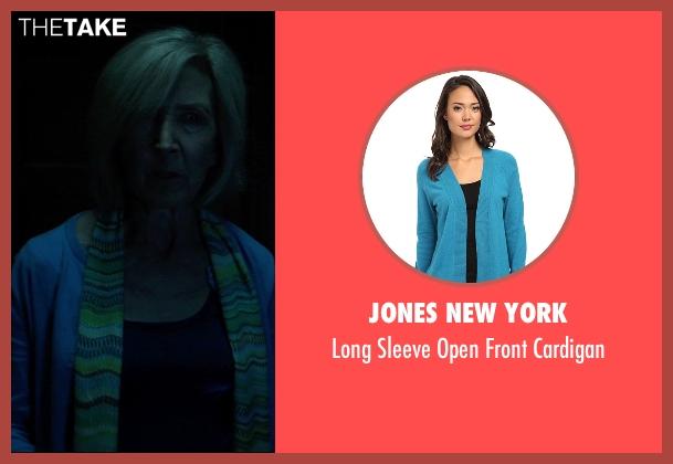 Jones New York blue cardigan from Insidious: Chapter 3 seen with Lin Shaye (Elise Rainier)