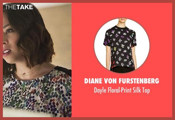 Diane Von Furstenberg black top from The Flash seen with Linda Park (Malese Jow)