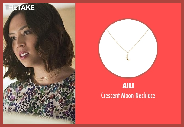 Aili gold necklace from The Flash seen with Linda Park (Malese Jow)