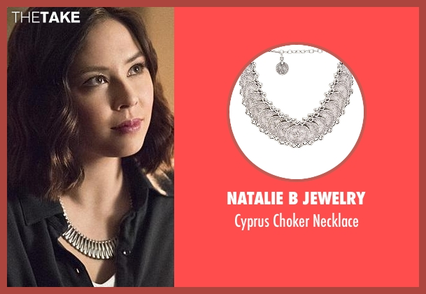 Natalie B Jewelry silver necklace from The Flash seen with Linda Park (Malese Jow)
