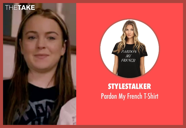 Stylestalker black t-shirt from Freaky Friday seen with Lindsay Lohan (Anna Coleman)
