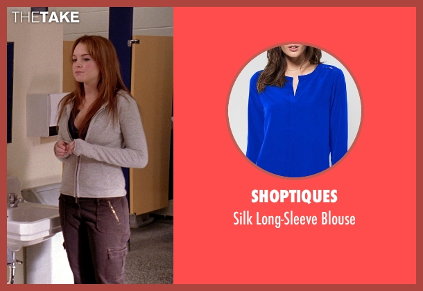 Shoptiques blue blouse from Mean Girls seen with Lindsay Lohan (Cady Heron)