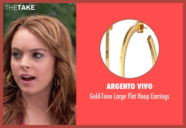 Argento Vivo gold earrings from Mean Girls seen with Lindsay Lohan (Cady Heron)