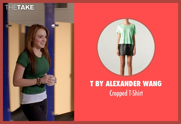 T by Alexander Wang green t-shirt from Mean Girls seen with Lindsay Lohan (Cady Heron)