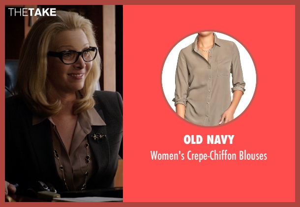 Old Navy brown blouses from Neighbors seen with Lisa Kudrow (Dean Carol Gladstone)