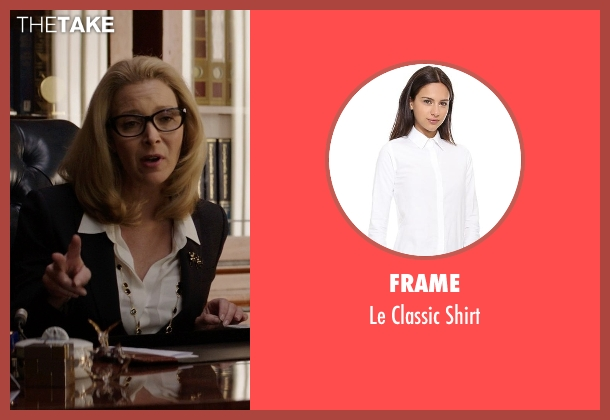 Frame white shirt from Neighbors seen with Lisa Kudrow (Dean Carol Gladstone)