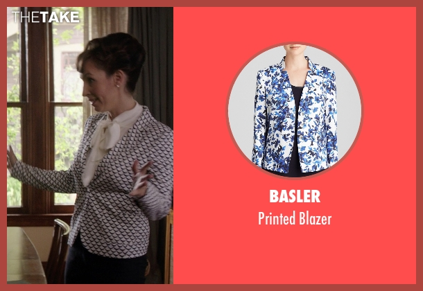Basler white blazer from Neighbors seen with Liz Cackowski (Wendy the Realtor)