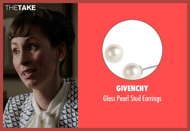 Givenchy 	 white earrings from Neighbors seen with Liz Cackowski (Wendy the Realtor)
