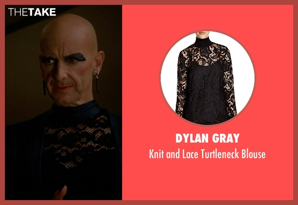Dylan Gray black blouse from American Horror Story seen with Liz Taylor (Denis O'Hare)