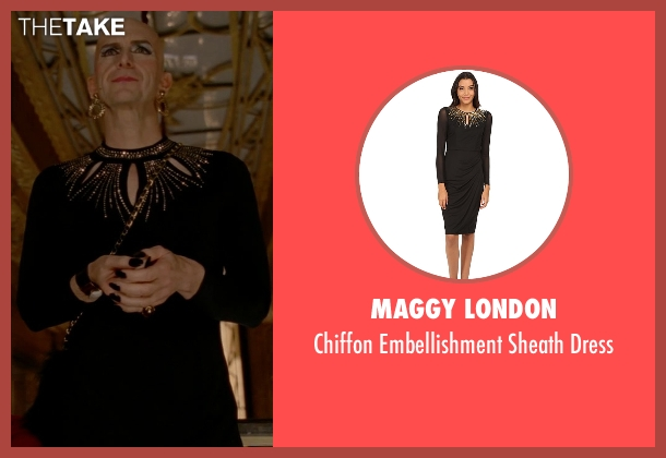 Maggy London black dress from American Horror Story seen with Liz Taylor (Denis O'Hare)