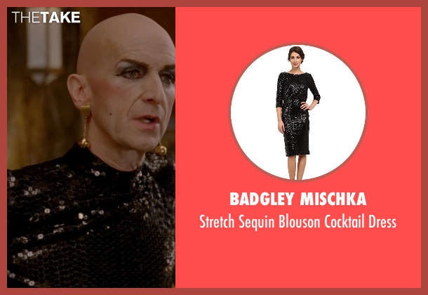 Badgley Mischka black dress from American Horror Story seen with Liz Taylor (Denis O'Hare)