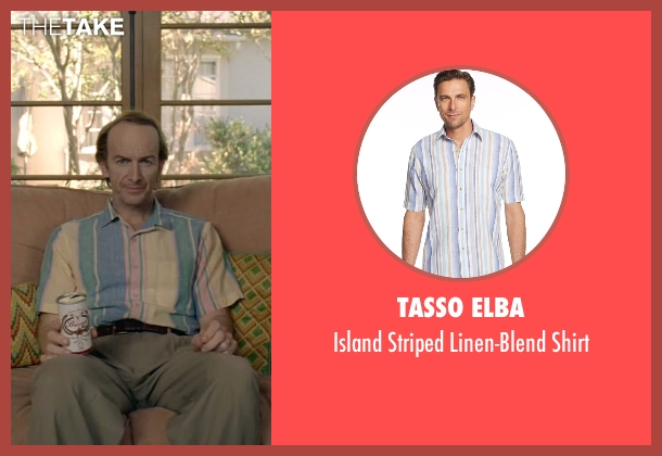 Tasso Elba blue shirt from American Horror Story seen with Liz Taylor (Denis O'Hare)