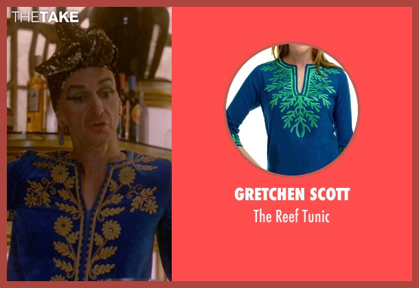 Gretchen Scott blue tunic from American Horror Story seen with Liz Taylor (Denis O'Hare)