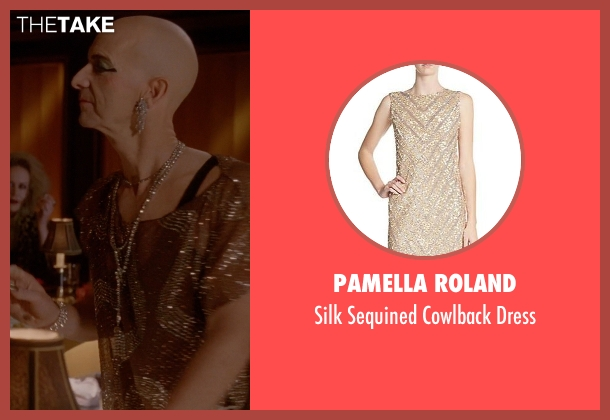 Pamella Roland gold dress from American Horror Story seen with Liz Taylor (Denis O'Hare)