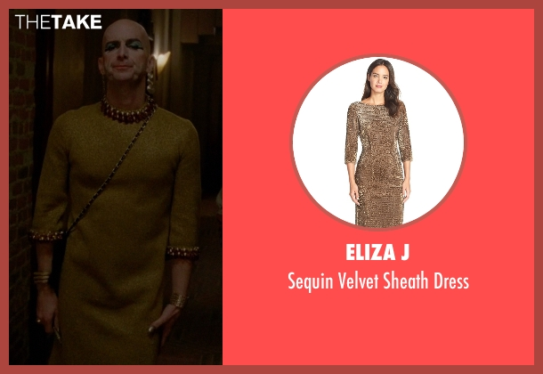 Eliza J gold dress from American Horror Story seen with Liz Taylor (Denis O'Hare)
