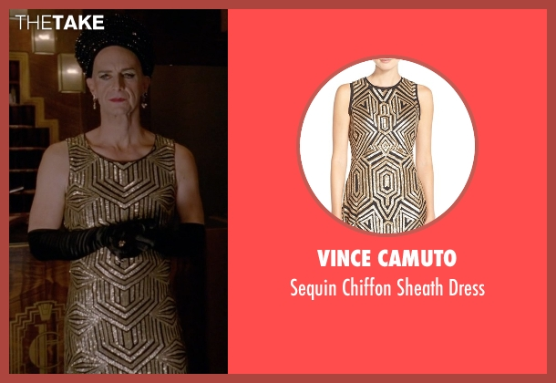 Vince Camuto gold dress from American Horror Story seen with Liz Taylor (Denis O'Hare)