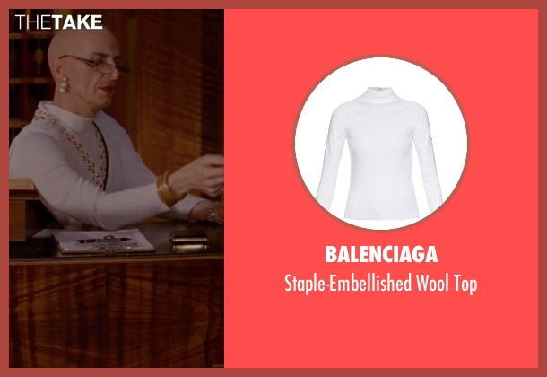 Balenciaga white top from American Horror Story seen with Liz Taylor (Denis O'Hare)