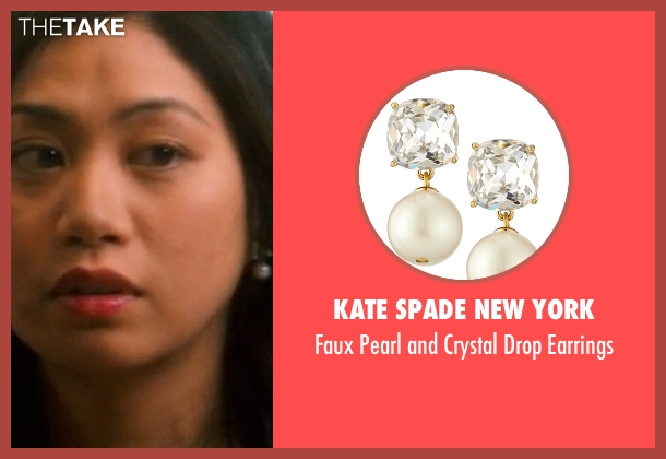 Kate Spade New York white earrings from Crazy, Stupid, Love. seen with Liza Lapira (Liz)