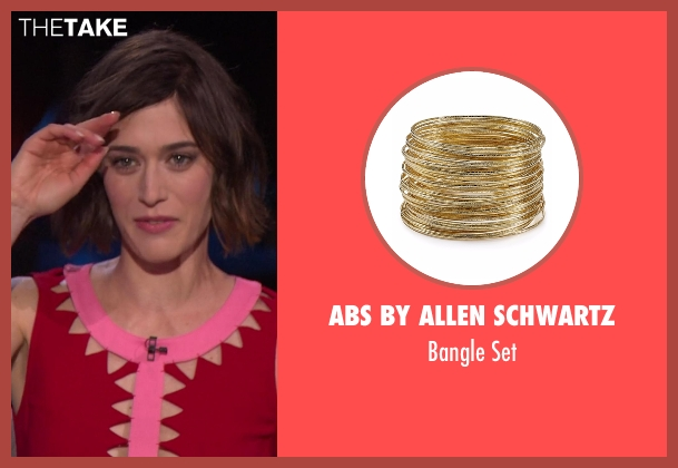 ABS by Allen Schwartz gold set from Chelsea seen with Lizzy Caplan