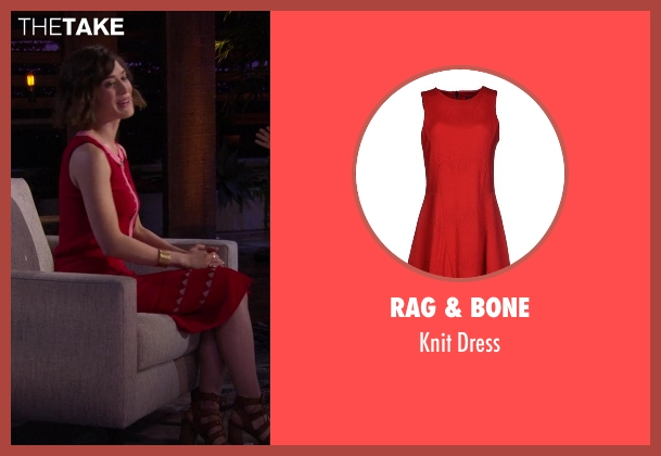 Rag & Bone red dress from Chelsea seen with Lizzy Caplan