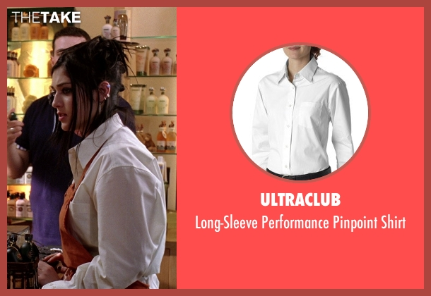 UltraClub white shirt from Mean Girls seen with Lizzy Caplan (Janis Ian)