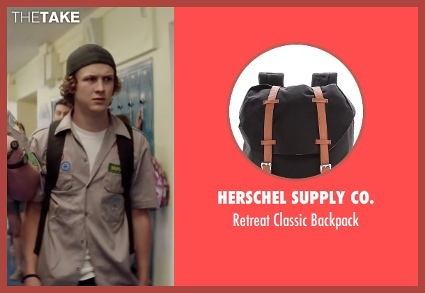 Herschel Supply Co. black backpack from Scout's Guide to the Zombie Apocalypse seen with Logan Miller (Carter)